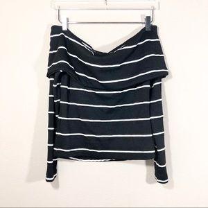 Zara Off Shoulder Striped Long-Sleeve Top